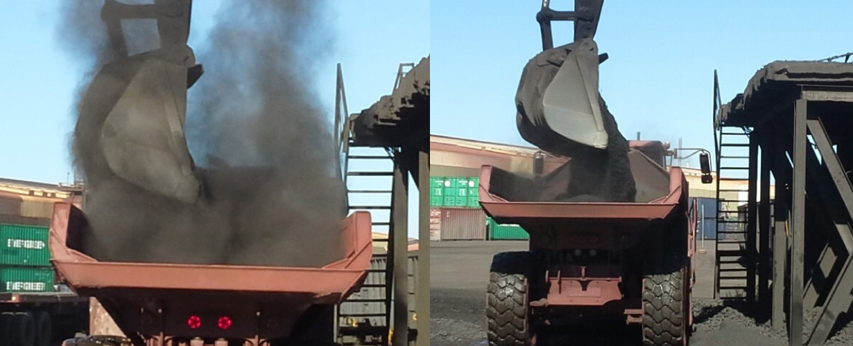 Benmarc - Manganese manual trans-loading from railcar to truck (Transnet Saldanha). Received from Tshipi e' Ntle)